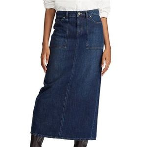 Lauren Ralph Lauren Blue Denim Cotton Maxi Skirt